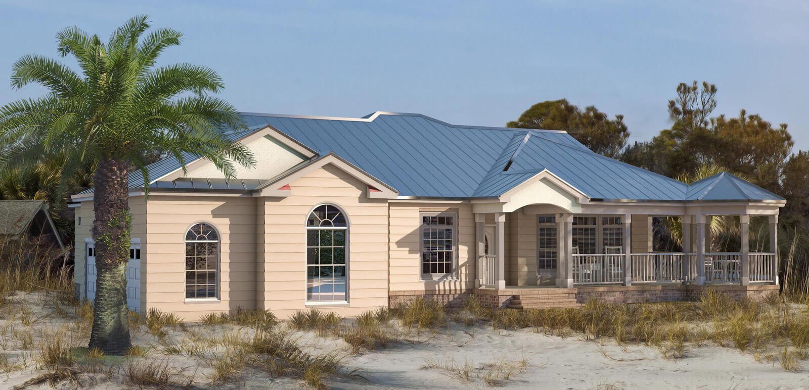 Beautiful single story house with metal roof